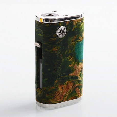 Authentic Asmodus Pumper-18 Squonk Mechanical Box Mod - Green, Stainless Steel + Stabilized Wood, 8ml, 1 x 18650