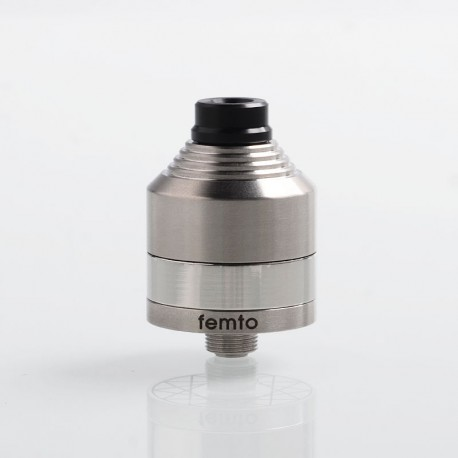 Vapeasy Pico Femto Style BF RDA Rebuildable Dripping Atomizer w/ BF Pin - Silver, 316 Stainless Steel, 22mm Diameter