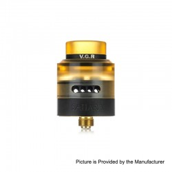 Authentic 3CVAPE Sahara RDA Rebuildable Dripping Atomizer w/ BF Pin - Black, Stainless Steel + Ultem, 24mm Diameter