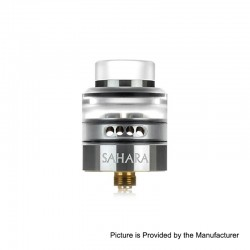 Authentic 3CVAPE Sahara RDA Rebuildable Dripping Atomizer w/ BF Pin - Silver, Stainless Steel + Acrylic, 24mm Diameter