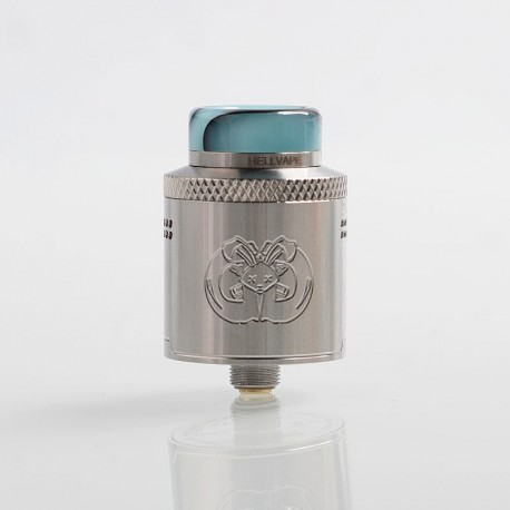 Authentic Hellvape Drop Dead RDA Rebuildable Dripping Atomizer w/ BF Pin - Silver, Stainless Steel, 24mm Diameter