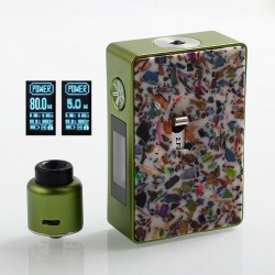 Authentic Asmodus Spruzza 80W TC VW Squonk Box Mod Mosaic Edition + Oni-One RDA Kit - Green + White, 5~80W, 1 x 18650, 6ml