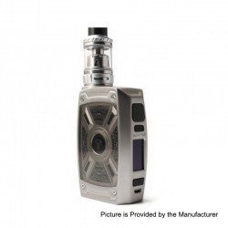 Authentic Tesla XT 220W TC VW Variable Wattage Mod + Tallica Mini Tank Kit - Silver, 7~220W, 2 x 18650 / 20700 / 21700, 4ml
