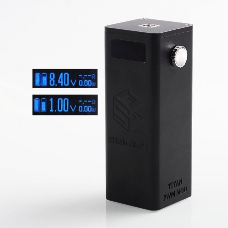Authentic Steam Crave Titan PWM VV Variable Voltage Box Mod - Black, 4 x 18650