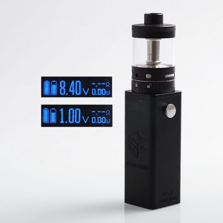 Authentic Steam Crave Titan PWM 300W VV Variable Voltage Box Mod + Aromamizer Titan RDTA Kit - Black, 4 x 18650, 28ml, 41mm Dia