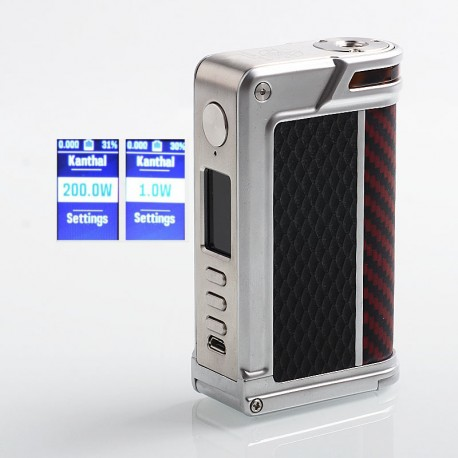 Authentic Lost Vape Paranormal DNA250C 200W TC VW Box Mod - Silver + Black Rhombus + Red Black Kevlar, 1~200W, 2 x 18650