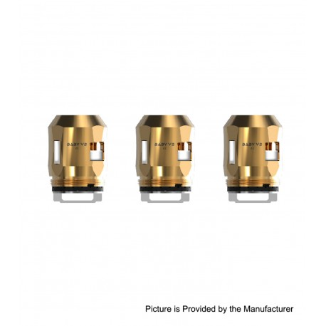 Authentic SMOKTech SMOK Replacement A2 Coil Head for TFV8 Baby V2 Sub Ohm Tank - Gold, 0.2ohm (70~120W) (3 PCS)