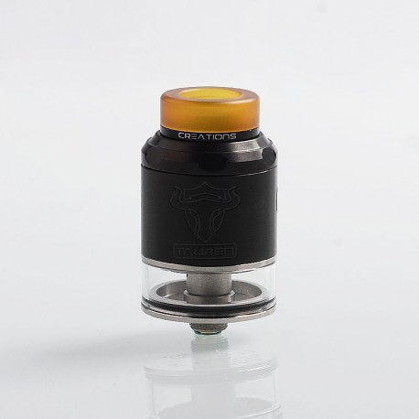 Authentic ThunderHead Creations THC Tauren RDTA Rebuildable Tank Atomizer w/ BF Pin - Black, SS, 2ml, 24mm Diameter