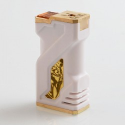 Kratos Style Mechanical Box Mod - White, POM + Brass, 2 x 18650