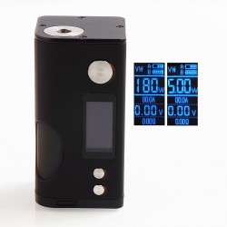 Authentic Dovpo Basium 180W VV VW Variable Wattage Squonk Box Mod - Black, Zinc Alloy, 5~180W, 2 x 18650, 6ml