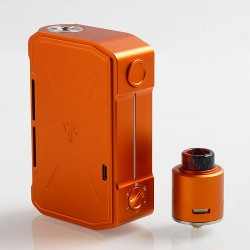 Authentic Tesla Invader IV 280W VV Variable Voltage Box Mod + RDA Kit - Orange, 3~8V, 2 x 18650 / 20700 / 21700