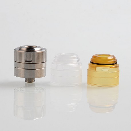 Space5 Style RDA Rebuildable Dripping Atomizer w/ BF Pin + PC Cap + PEI Cap - Silver, 316 Stainless Steel, 22mm Diameter