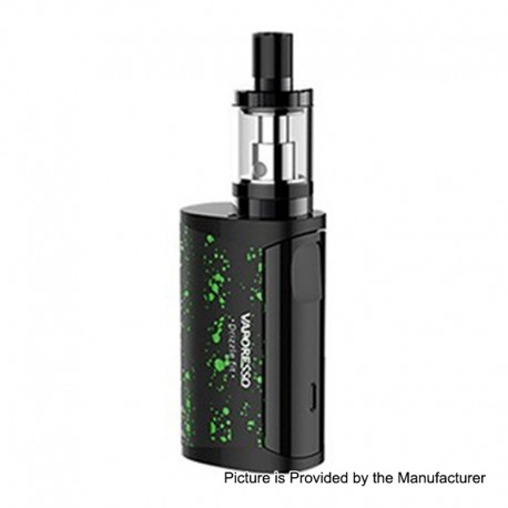 Authentic Vaporesso Drizzle Fit 1400mAh All-in-one Starter Kit - Black with Green Spot, Stainless Steel, 1.8ml