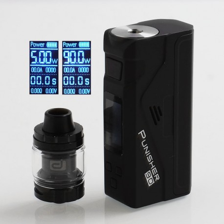 Authentic Dovpo Punisher 90W TC VW Variable Wattage Box Mod + DJ Atomizer Kit - Black, 5~90W, 1 x 18650 / 20700 / 21700, 3ml