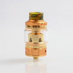 Authentic Tesla Tallica Mini Sub Ohm Tank Clearomizer - Gold, Stainless Steel + Aluminum Alloy, 0.18ohm, 6ml, 25mm Diameter