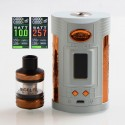 Authentic Sigelei GW 257W VW Variable Wattage Mod + F Tank Kit - Light Grey + Gold, Zinc Alloy + Stainless Steel, 2 x 18650