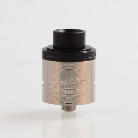 Authentic Ambition Mods Twister RDA Rebuildable Dripping Atomizer - Silver, 316 Stainless Steel + POM, 24mm Diameter