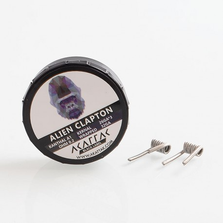 Authentic Akattak Black Label Alien Clapton Kanthal A1 Wire Pre-built Coils - 26GA x 3 + 32GA, 0.2 Ohm (20 PCS)