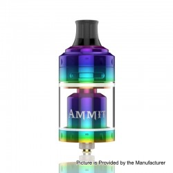 Authentic GeekVape Ammit MTL RTA Rebuildable Tank Atomizer - Rainbow, Stainless Steel + Glass, 4ml, 24mm Diameter