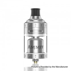 Authentic GeekVape Ammit MTL RTA Rebuildable Tank Atomizer - Silver, Stainless Steel + Glass, 4ml, 24mm Diameter