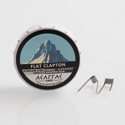 Authentic Akattak Flat Clapton Stainless Steel 316L Wire Pre-built Coils - 0.3 x 0.8 Flat + 36GA, 0.3 Ohm (20 PCS)