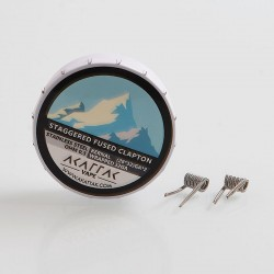 Authentic Akattak Staggered Fused Clapton Stainless Steel 316L Wire Pre-built Coils - (28 x 32) GA x 2 + 32GA, 0.3 Ohm (20 PCS)