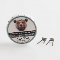 Authentic Akattak Staggered Fused Halfed Clapton Kanthal A1 Wire Pre-built Coils - 26GA + 24 (32) GA + 32GA, 0.27 Ohm (20 PCS)