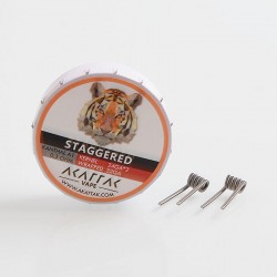 Authentic Akattak Staggered Clapton Kanthal A1 Wire Pre-built Coils - 24GA x 2 + 32GA, 0.3 Ohm (20 PCS)