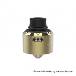 Authentic Vapefly Pixie RDA Rebuildable Dripping Atomizer w/ BF Pin - Gold, Stainless Steel + Delrin, 22mm Diameter