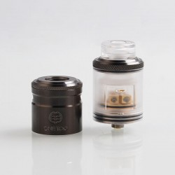 Authentic One Top Onetopvape Gemini RDTA Rebuildable Dripping Tank Atomizer- Gun Metal, Stainless Steel + PC, 26.5mm Diameter