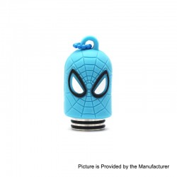 Authentic Vapesoon Spider Man 810 Drip Tip w/ Cap for TFV8 / TFV12 Tank / Goon / Reload RDA - Blue, Resin + SS + Silicone, 35mm