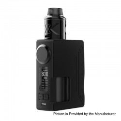 Authentic Hugsvape Surge 80W TC VW Squonk Mod + Piper BF RDA Kit - Black, 7~80W, 1 x 18650 / 20700, 24mm Diameter