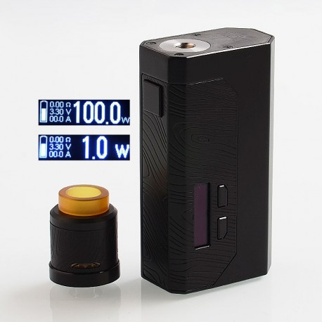 Authentic Wismec Luxotic MF Box 100W Squonk Mod w/ Screen + Guillotine V2 RDA Kit - Black, 1 x 18650 / 21700 / 2 x 18650, 7ml