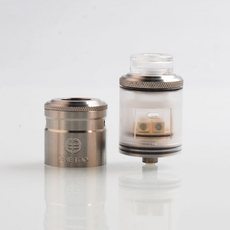 Authentic One Top Onetopvape Gemini RDTA Rebuildable Dripping Tank Atomizer- Silver, Stainless Steel + PC, 26.5mm Diameter
