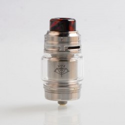 Authentic Voopoo Rimfire RTA Rebuildable Tank Atomizer - Silver, Stainless Steel + Glass, 5ml, 30mm Diameter