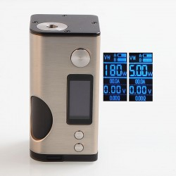 Authentic Dovpo Basium 180W VV VW Variable Wattage Squonk Box Mod - Silver, Zinc Alloy, 5~180W, 2 x 18650, 6ml