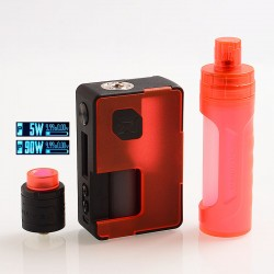 Authentic Vandy Vape Pulse X 90W TC VW Box Mod + BF RDA Kit High-End Version - Frosted Red, 5~90W, 1 x 18650 / 20700 / 21700