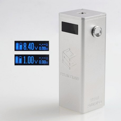 Authentic Steam Crave Titan PWM 300W VV Variable Voltage Box Mod - Silver, 4 x 18650