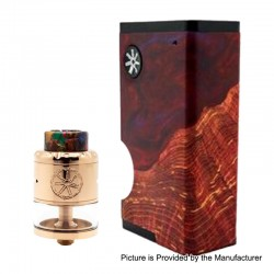 Authentic Asmodus Luna 80W Squonk Box Mod + Nefarius TF / BF RDTA Kit - Red + Rose Gold, 6ml, 1 x 18650, 4ml, 25mm Dia