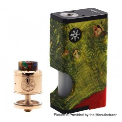 Authentic Asmodus Luna 80W Squonk Box Mod + Nefarius TF / BF RDTA Kit - Green + Rose Gold, 6ml, 1 x 18650, 4ml, 25mm Dia