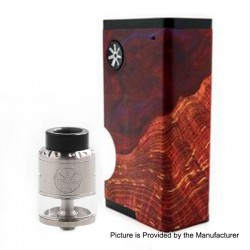 Authentic Asmodus Luna 80W Squonk Box Mod + Nefarius TF / BF RDTA Kit - Red + Silver, 6ml, 1 x 18650, 4ml, 25mm Dia
