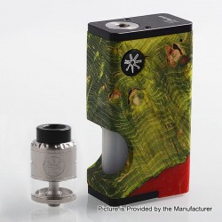 Authentic Asmodus Luna 80W Squonk Box Mod + Nefarius TF / BF RDTA Kit - Green + Silver, 6ml, 1 x 18650, 4ml, 25mm Dia