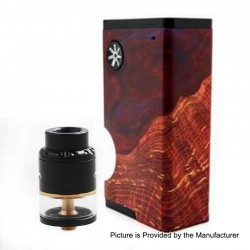 Authentic Asmodus Luna 80W Squonk Box Mod + Nefarius TF / BF RDTA Kit - Red + Black, 6ml, 1 x 18650, 4ml, 25mm Dia