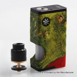 Authentic Asmodus Luna 80W Squonk Box Mod + Nefarius TF / BF RDTA Kit - Green + Black, 6ml, 1 x 18650, 4ml, 25mm Dia