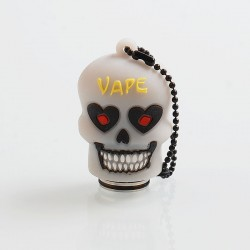Authentic Vapesoon Skull 810 Drip Tip w/ Cap for TFV8 Tank / Goon / Reload RDA - White, Resin + SS + Silicone, 38mm