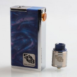 SOB Parallel Style Hybrid Mechanical Box Mod + Outlaw Style RDA Kit - Blue, Stainless Steel + Resin, 2 x 18650