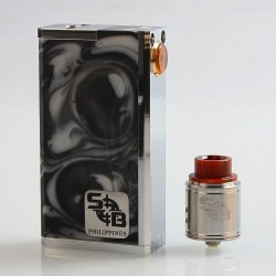 SOB Parallel Style Hybrid Mechanical Box Mod + Outlaw Style RDA Kit - Random Color, Stainless Steel + Resin, 2 x 18650