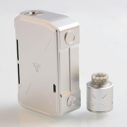 Authentic Tesla Invader IV 280W VV Variable Voltage Box Mod + RDA Kit - Silver, 3~8V, 2 x 18650 / 20700 / 21700
