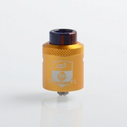 Authentic Coil Father King RDA Rebuildable Dripping Atomizer w/ BF Pin - Gold, Aluminum + Stainless Steel, 24mm Diameter
