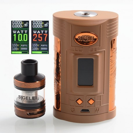 Authentic Sigelei GW 257W VW Variable Wattage Mod + F Tank Kit - Coffee + Gold, Zinc Alloy + Stainless Steel, 2 x 18650